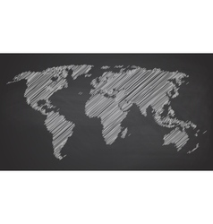 World map contour on vector