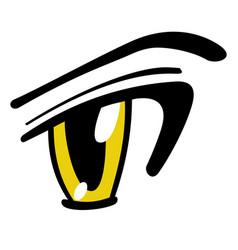 Yellow manga eye vector