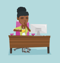 Young african-american tired office worker yawning vector