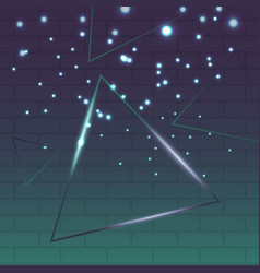 Abstract shining triangle on green and purple vector