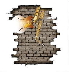 Guitar and saxophone in the brick wall vector image