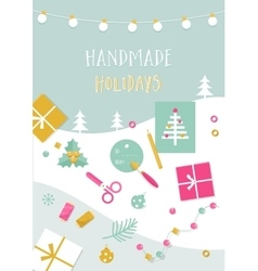 Handmade Holidays Card Tools Crafts and vector image vector image