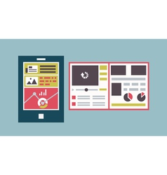 Responsive web template interface of mobile device vector image