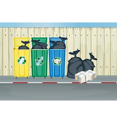 Three different colors of trash cans vector image vector image