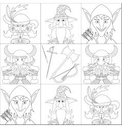 Fantasy heroes set avatar contour vector image vector image
