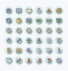 flat color thin line icons set with banking vector image vector image