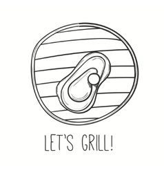 Grill with meat steak on vector image