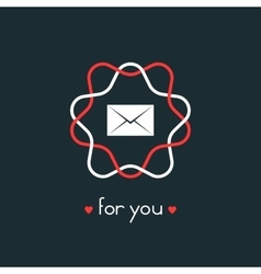 letter for you with red and white sign vector image
