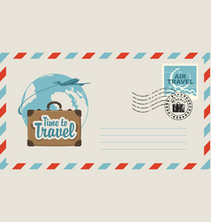 postal envelope with on travel theme vector image vector image