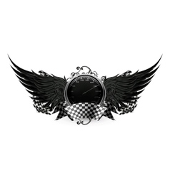 Wings Black Racing emblem vector image