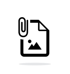 Attached photo file icon on white background vector