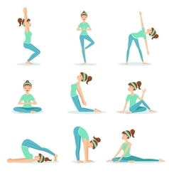 Girl In Blue Training Clothes Demonstrating Yoga vector image