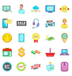 online sale icons set cartoon style vector image vector image