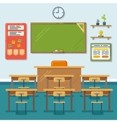 School classroom with chalkboard and desks vector image
