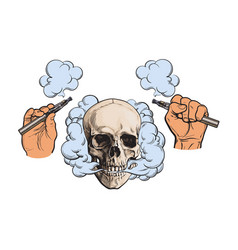 smoke coming out of skull electronic cigarettes vector image