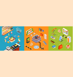 Supermarket furniture isometric set vector