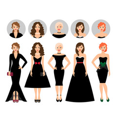 young woman in different black dresses vector image vector image