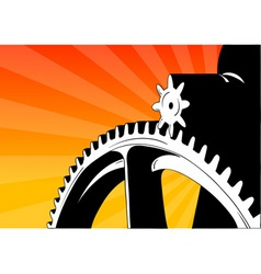cogwheel on the orange background vector image vector image