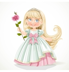 Cute little princess with long hair in tiara vector image vector image