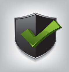 Empty black shield check mark vector image vector image