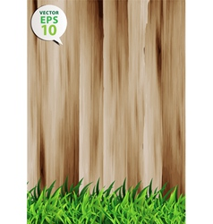 grass over wood fence background vector image vector image