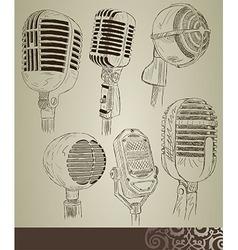 Retro microphone set vector image