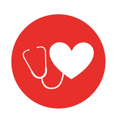 round icon heart stethoscope vector image