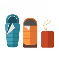 Sleeping Bag Set vector image vector image