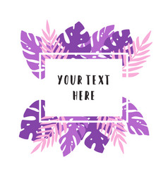 violet and pink tropical leaves vector image vector image
