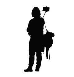 woman black silhouette on black vector image