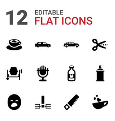12 clipart icons vector