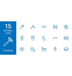 15 hygiene icons vector