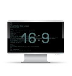 16 to 9 monitor white background vector image
