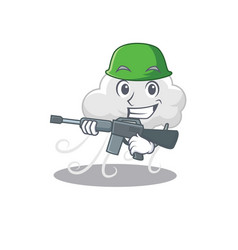 A cartoon picture cloudy windy in army style vector