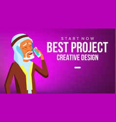 Arab man banner young saudi arabic man vector