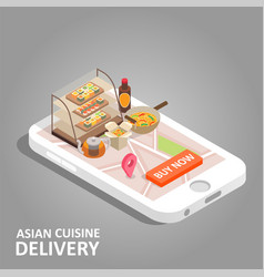 Asian food online isometric vector