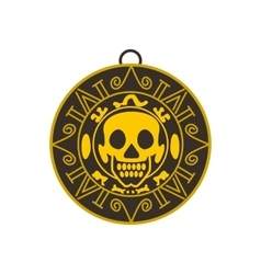 Aztec pirate gold coin icon flat style vector image
