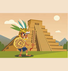 Aztec warriors in headgear shield pyramid vector
