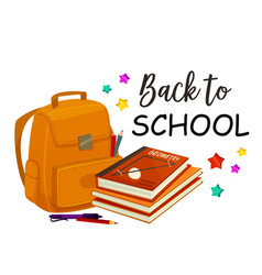 Back to school rucksack poster vector