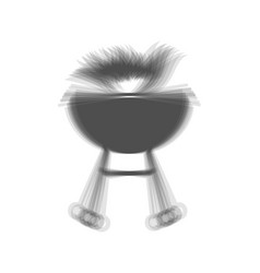 Barbecue with fire sign gray icon shaked vector