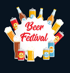 Beer festival flat poster vector