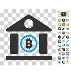 Bitcoin bank building icon with bonus vector