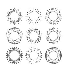 black sunburst design elements set isolated vector image