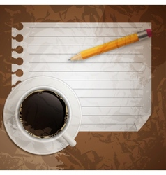 Blank book with coffee and photo frame on bu vector
