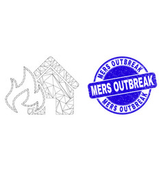 Blue scratched mers outbreak stamp and web mesh vector
