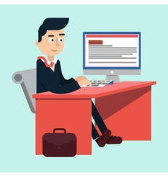 Businessman at Office on the Work Table vector