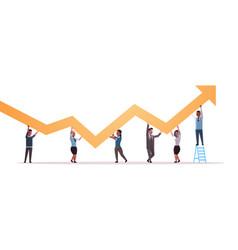 businesspeople holding upward financial arrow up vector image
