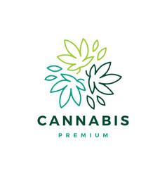 cannabis leaf outline logo icon vector image