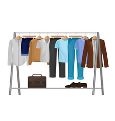 Cartoon clothes on hangers fashion for man vector