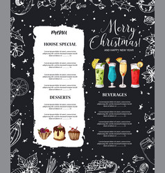 Chalk drawning christmas menu design winter vector